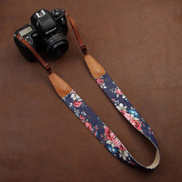 DSLR Leather Floral Camera Strap
