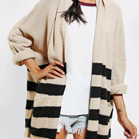 BDG Rolled-Sleeve Open Cardigan- Taupe
