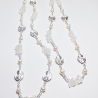 Crystal Quartz Necklace with Freshwater Pearls and Silver-Plated Beads