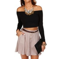 Black Off the Shoulder Crop Top