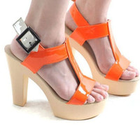 Womens T-strap Thick Heels Platform Sandals Shoes 1jP