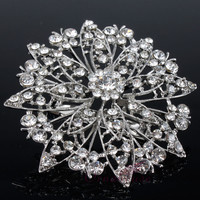 Wedding Bridal Party Round Bouquet Brooch Pin Clear Rhinestone Crystal Corsage