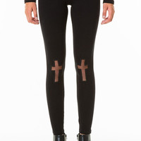 Schwarze Leggings mit Kreuz-Motiven - Official TallyWeijl Store