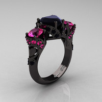 Scandinavian 14K Black Gold 2.0 Ct Heart Black Diamond Pink Sapphire Three Stone Designer Engagement Ring R434M-14KBGPSBD