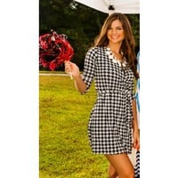 Houndstooth Honey Wrap Dress