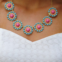 Dollop Of Daisy Necklace: Blue/Pink | Hope's