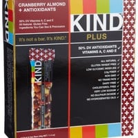 KIND PLUS, Cranberry Almond   Antioxidants, Gluten Free Bars (Pack of 12)