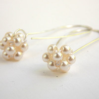 Pearl Cluster Earrings: Elegant, Classic, Sterling Silver Pearl Earrings