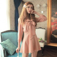 Cute fashion Big Bowknot Slim Short Dress Pink