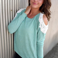 Lace-Cold Shoulder in Teal | The Rage