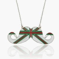 British Themed Mustache Necklace Mint Green and Red