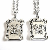 Two Butterfly Locket Friendship Necklaces for Friends, Sisters, BFFs