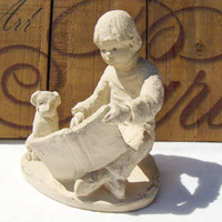 Dee Crowley Magic Kingdom Boy & Dog Bright Eyes Sculpture Austin Prod Inc 1987