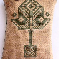 Cross Stitch Mini Pillow/Pin Keep - Quaker Leaf -  ON SALE