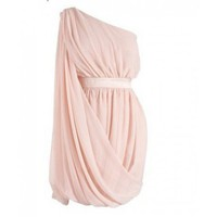 Chiffon Oblique Solid Round Neck Pink - Women&#x27;s Dresses - Apparel