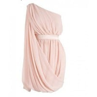 Chiffon Oblique Solid Round Neck Pink - Women's Dresses - Apparel