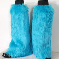 Aqua / Teal Monster Leg Warmers / Fluffies / Boot Covers - Cosplay / Furry / Animal / Rave