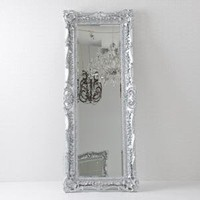ruffle edge mirror - floor - silver