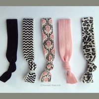 5 Elastic HAIR TIES Pink White Black Silver Gray by CrownedPeacock