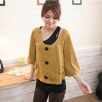 Casual Two-piece Design Slim Vest Single-breasted Cardigan Top Sweater Mustard-Wholesale Women Fashion From Icanfashion.com