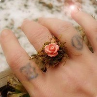 Amaranth Pinkie woodland ring by LambCandy on Etsy