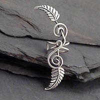 Sterling Leaf EAR CUFF TENDRILS Silver by SunnySkiesStudio