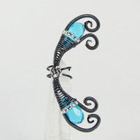Ear Cuff Gray and Blue Aqua Fairy by ShutUpAndCuffMe on Etsy