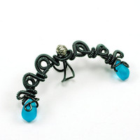 Ear Cuff Smoke and Blue Glass Mystery Fairy by ShutUpAndCuffMe