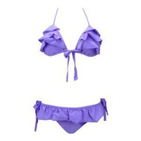 Ruffle Bow Triangle Top & Bikini Bottom Set Purple