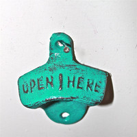 "Teal ""OPEN HERE"" Cast Iron Bottle Opener by AquaXpressions"
