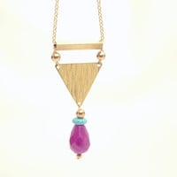 Golden Raw Brass Geometric Triangle Necklace - Turquoise Stone - Violet Jade Teardrop - Modern Raw Brass Jewelry  - Gold Plated Chain