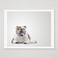 Humphrey the Bulldog  Illustrated Print  5 x 7 by DieselAndJuice