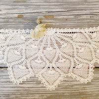 1950s Doilies Antimacassar Set / Three Piece Doily Set / Tatted or Crochet Dolies Antimacassars / Pineapple Pattern Doilies Hand Made