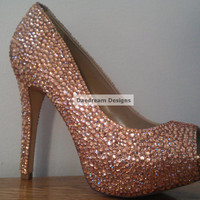 Custom Nude Bling Peep Toe Pumps by DaedreamDesigns on Etsy
