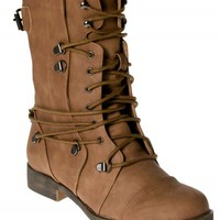Tan Pu Wrap Over Lace Military Boots