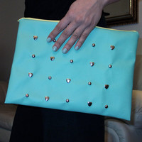 Periwinkle Light Blue and Yellow Studded Envelope by Moleek7