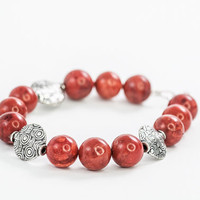 Red Coral Beaded Bracelet Gift For Mother by DevikaBox on Etsy