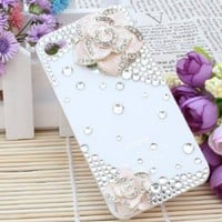 3d Bling Crystal Rhinestone Flower Case Cover for Apple Iphone 4 and 4s (Color: Pink): Cell Phones & Accessories