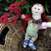 Becky the Red Haired Rag Doll, 14 inches 36 cm tall | Linandara - Toys on ArtFire