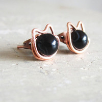 Black Cat Stud Earrings  Copper Wire Wrapped by contempojewels