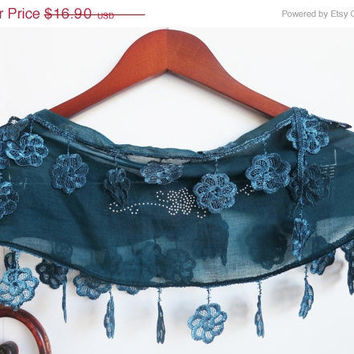 ON SALE NEW Teal Green Blue Silver Lace Motif by SistersLace