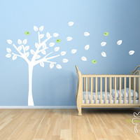 Tree Nursery White Birds Large Leaves Baby by LittleMooseDecals