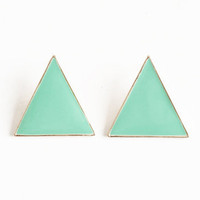 Clever Mint Triangle Earrings - &amp;#36;14.00 : ThreadSence.com, Your Spot For Indie Clothing &amp; Indie Urban Culture