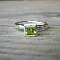 Spring Green Square Princess Solitaire or by onegarnetgirl on Etsy
