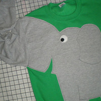 Elephant Trunk sleeve sweatshirt sweater jumper UNISEX M Emerald Green