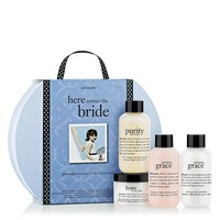 here comes the bride | bridal beauty gift set | philosophy wedding