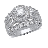 3-1/2 CT. T.W. Baguette and Round Diamond Engagement Ring in 14K White Gold - View All Rings - Zales