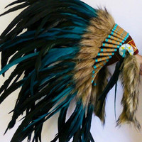 Amazing Green  Feather Headdress 42 by THEWORLDOFFEATHERS on Etsy