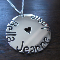 Three Names Circular Silver Pendant Necklace by GorjessJewellery