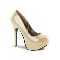 Cream Patent Leather Pumps - Unique Vintage - Prom dresses, retro dresses, retro swimsuits.